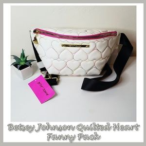 NWT Betsey Johnson Heart Quilted Fanny Pack